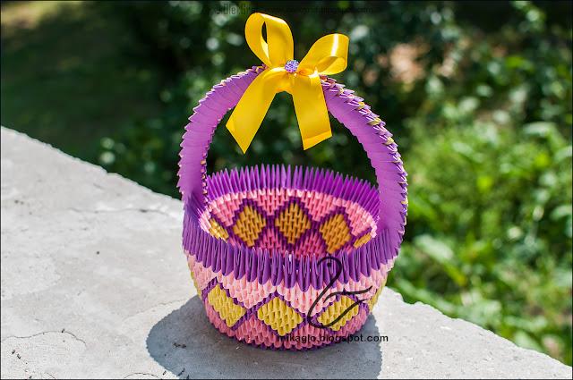 575. Koszych w fioletach z origami / 3d origami basket