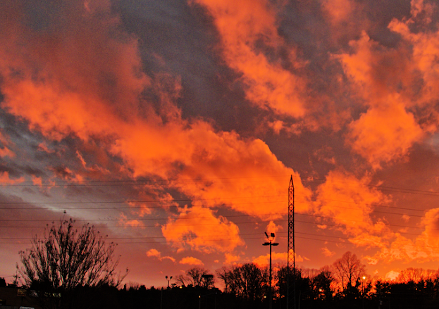 """Orange Electric"" - orange clouds in a Winston Salem sunset"