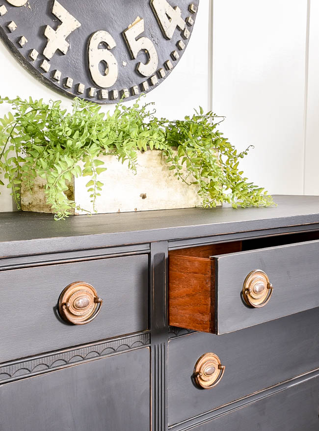 dovetail drawers on painted buffet