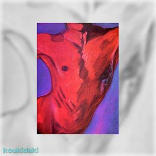 Πίνακας Κώστα Ευαγγελάτου (Κόκκινη σωματογραφία, λάδι σε καμβά, Ιδιωτική συλλογή)