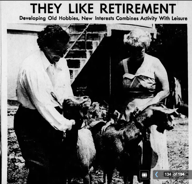 back yard of Sears Elsmore: 1952 St. Louis Post-Dispatch story about retirees Hazel Evans and Helen Evans