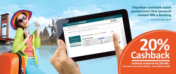Cashback 20% Pembayaran Tiket Pesawat di BNI E-Banking