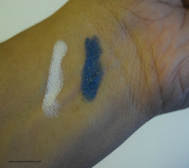 NYX Jumbo Eye Pencils in Cobalt & Milk swatches under  natural lighting