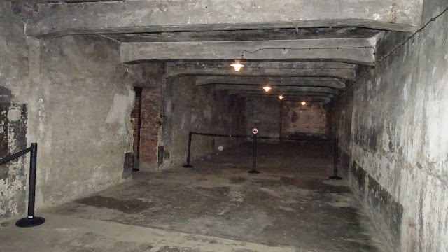 Waiting and undressing area in Auschwitz