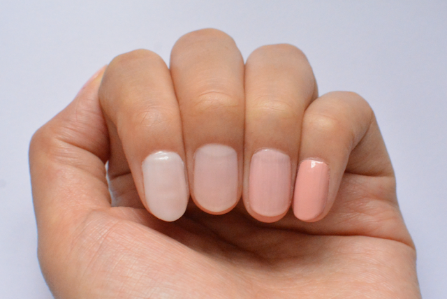 Essie ballet slippers, Essie vanity fairest, Bourjois rose satin, No 7 blissful, Review, Swatches