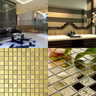gold porcelain tiles bathroom wall backsplash glaze ceramic small tile squares mosaic designs