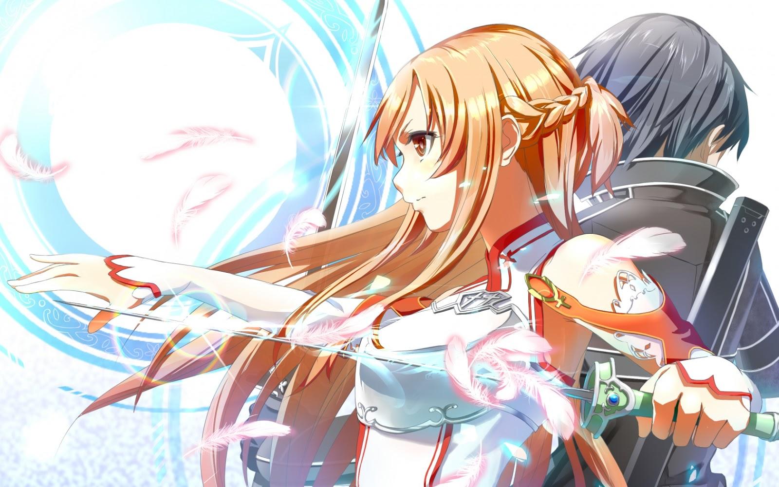 Sword art online asuna and kirito hd wallpaper 1600x1000 - Fanart anime wallpaper ...