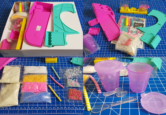 So Slime DIY Slimelicious Station what is in the box collage of everything
