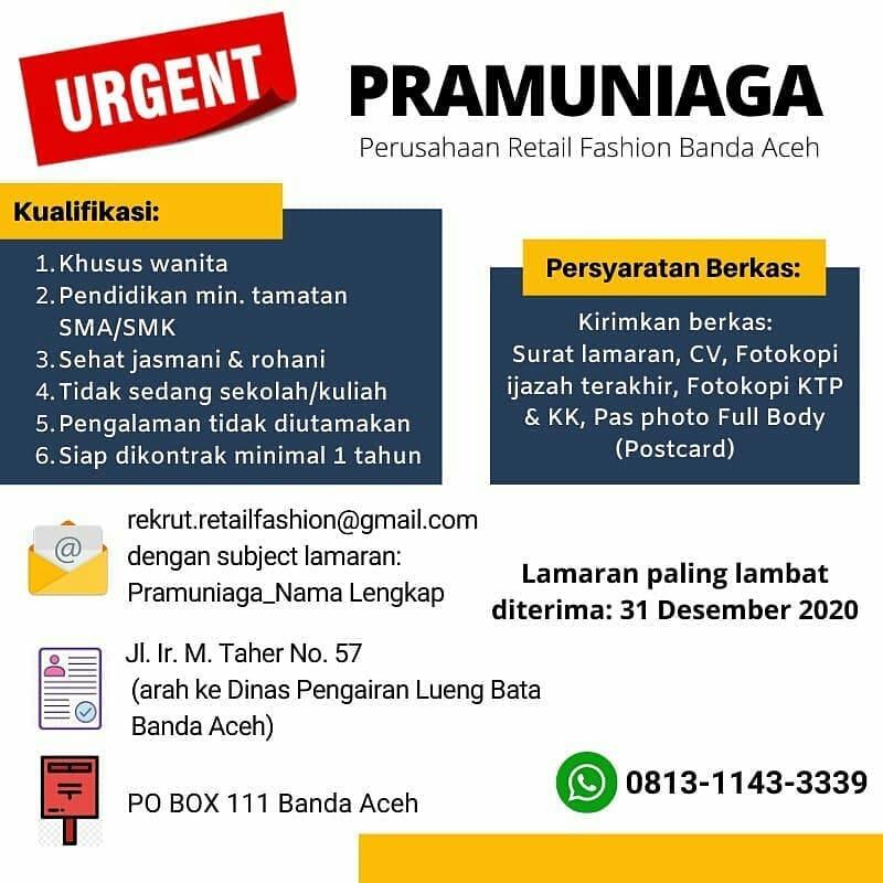 Lowongan Kerja Pramuniaga Perusahaan Retail Fashion Banda Aceh Karir Aceh
