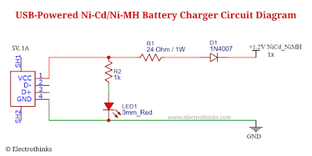 Schematic of USB powered Ni-Cd/Ni-MH battery charger circuit