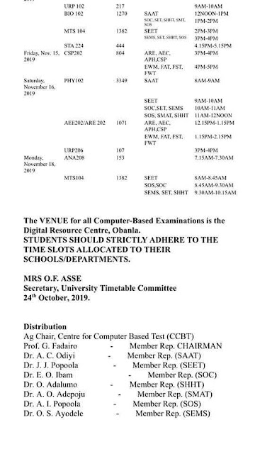 FUTA CBE 2nd Semester Examination Time-Table 2018/2019