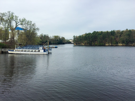 View of the Drinker Dock from the Illinois Avenue Overlook on the Wisconsin Dells Riverwalk