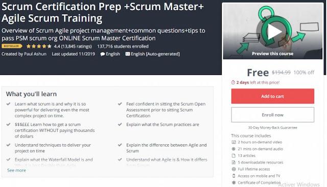 [BESTSELLING][100% Off] Scrum Certification Prep +Scrum Master+ Agile Scrum Training| Worth 194,99$