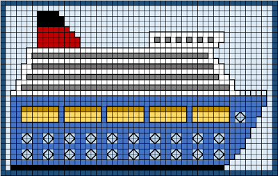 Free cruise ship cross stitch design pattern