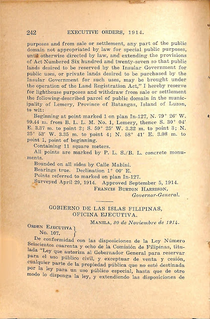 Executive Order No. 107 series of 1914 English version continued.