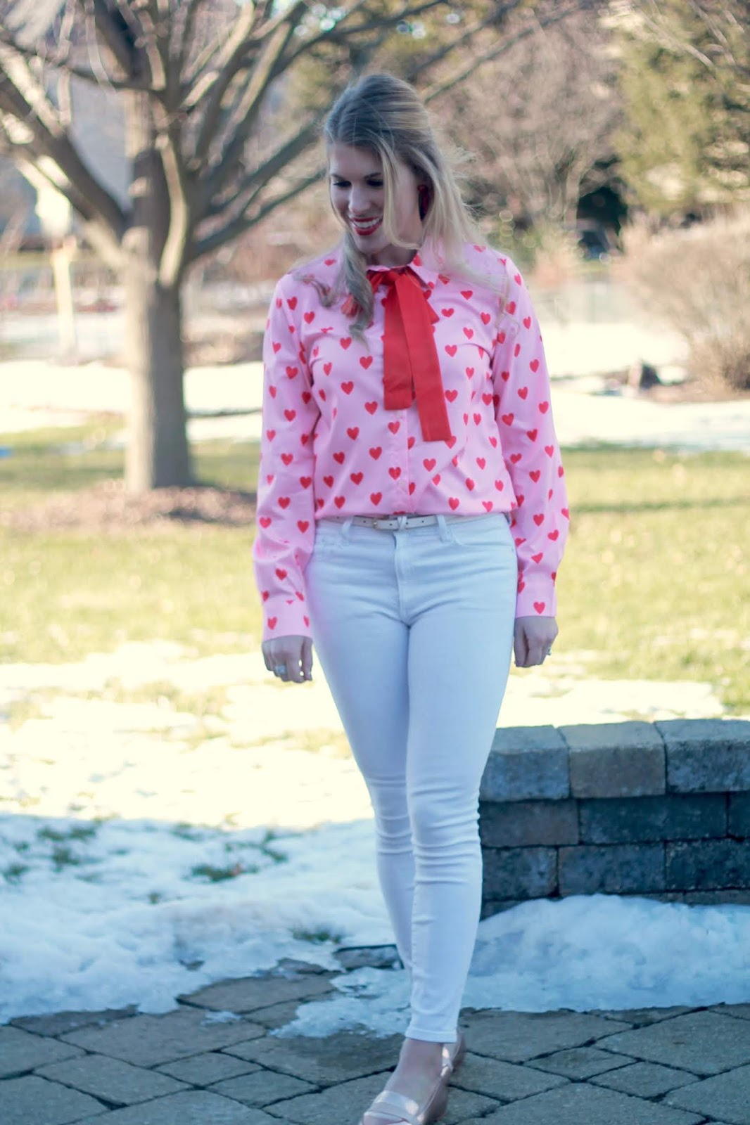 Valentine's Day, heart print blouse, white jeans, rose gold loafers, mommy & me valentine's day