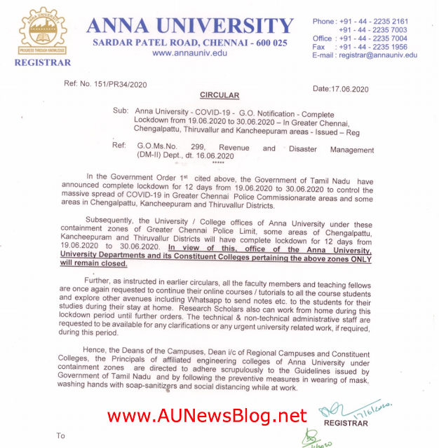 Anna University Requested Colleges to Continue online Classes + AU Chennai closed due to lockdown