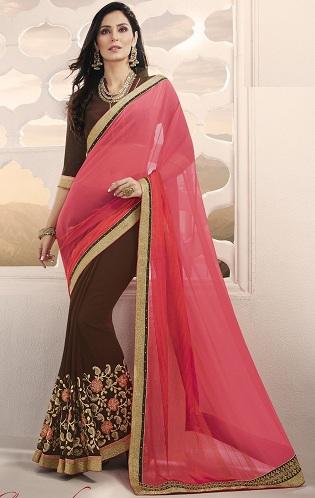 Pink And Brown Saree