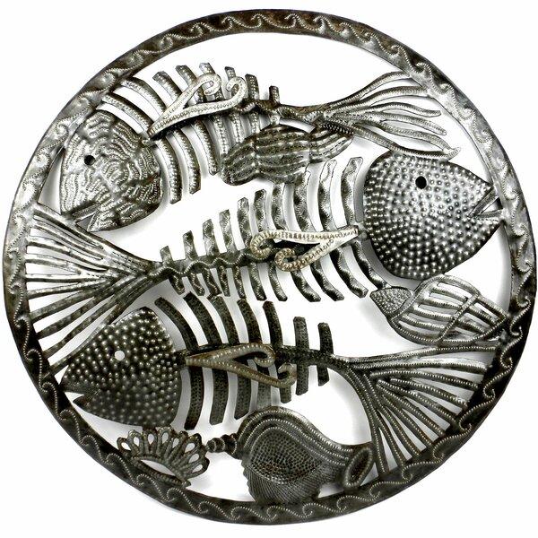 Round Fish Bones Metal Wall Decor