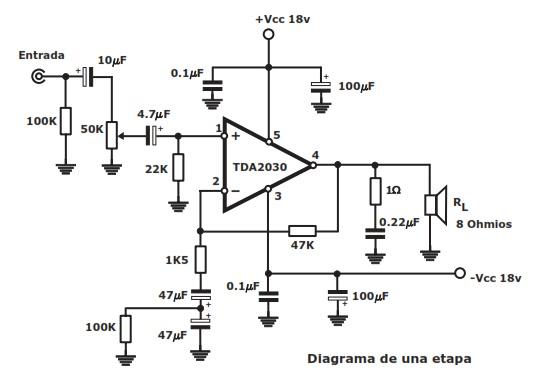 circuitos de amplificadores de audio  30w stereo economy amplifier tda2030