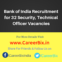 Bank of India Recruitment for 32 Security, Technical Officer Vacancies