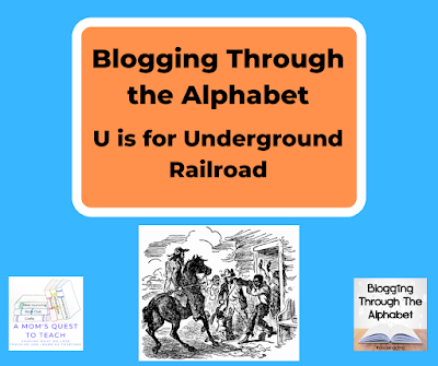 A Mom's Quest to teach and Blogging Through the Alphabet logos; escaped slave drawing from wpclipart.com