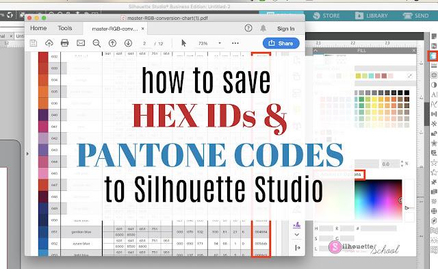 silhouette america blog, silhouette 101, Hex IDs, Pantone Codes, studio v4.3