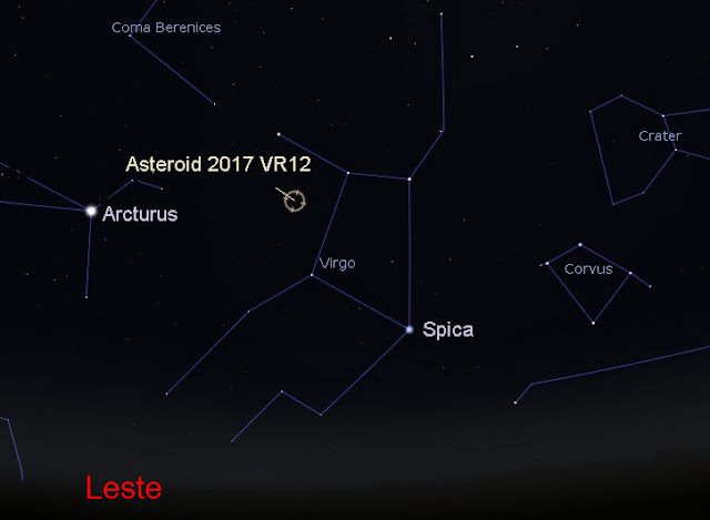 localização do asteroide 2017 VR12