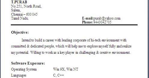 B E Resume Format Pdf