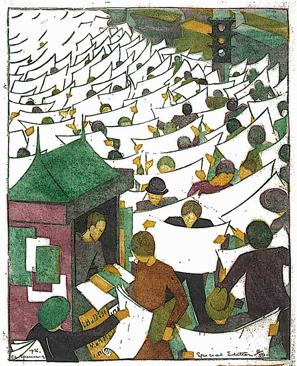 an Ethel Spowers print, a crowd reading their newspapers in public