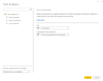 screenshot of text analytics