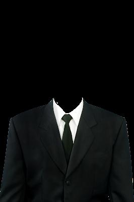 Contoh template gambar baju jas pria hitam dasi hitam png
