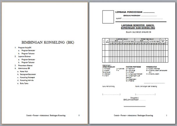 Contoh Format Administrasi BK (Bimbingan Konseling)