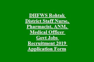 DHFWS Rohtak District Staff Nurse, Pharmacist, ANM, Medical Officer Govt Jobs Recruitment 2019 Application Form