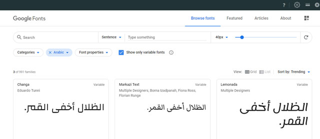 Best Arabic Google Fonts For Blogger
