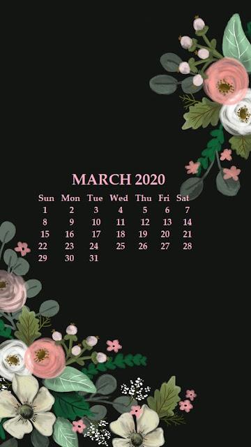 Fondo de pantalla de iphone de calendario 2020 marzo