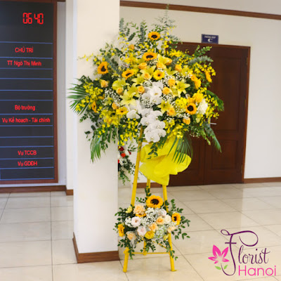 Yellow flower stand