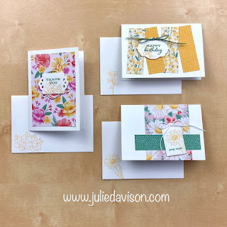 Stampin' Up! Trio of Tags Flower Notecards ~ Four Season Floral ~ www.juliedavison.com #stampinup