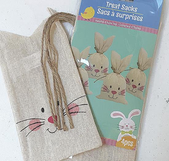 Dollar store bunny shaped treat bags