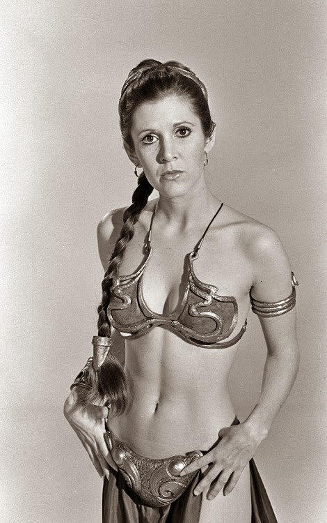 Carrie Fisher as Princess Leia in sexy slave outfit