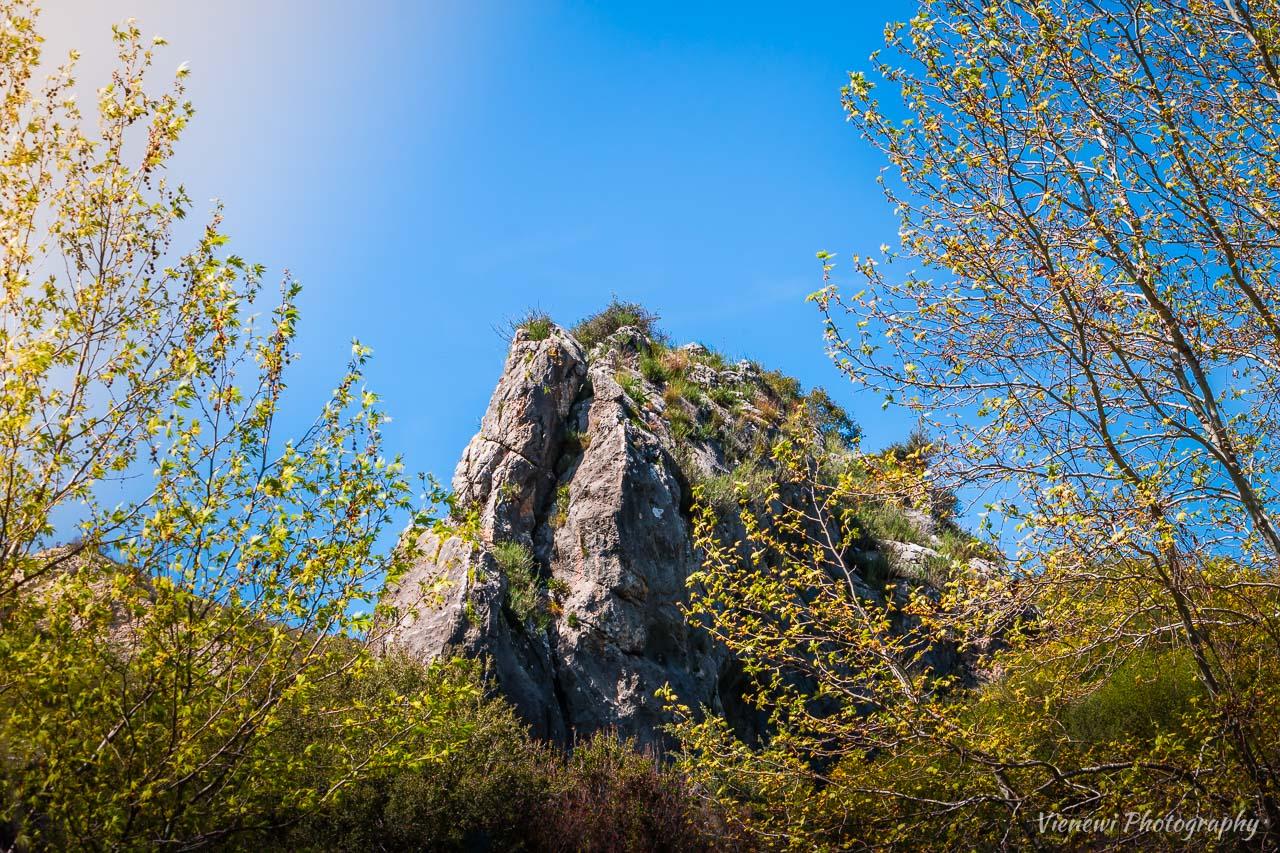 Zdjęcie z Chasampoulia Rock w centrum kadru i zielęcymi się gałązkami drzew z obu stron.