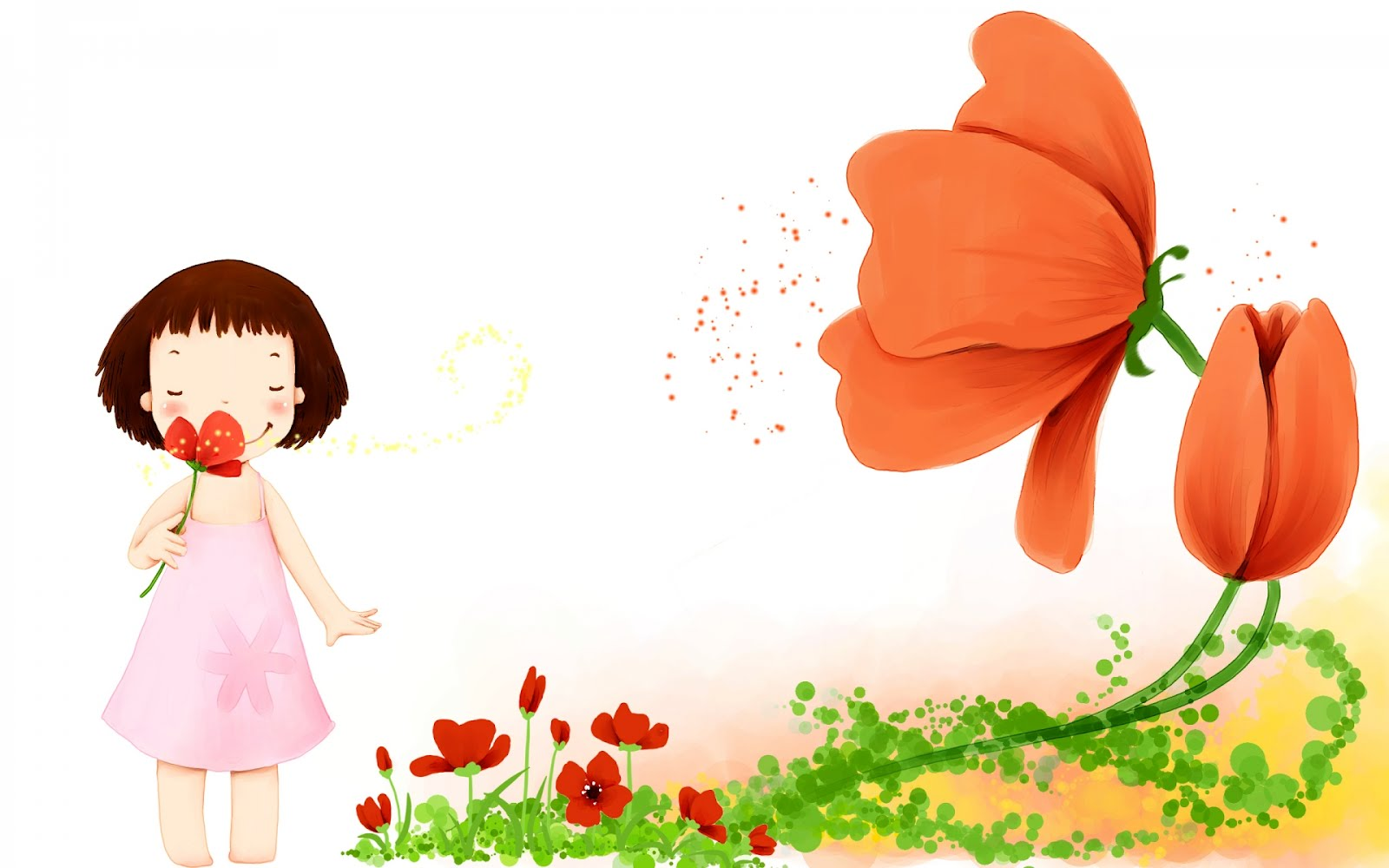 Niña Oliendo Flores - Dibujos A Color