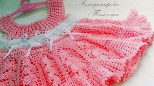 Vestido tejido al crochet de bebé - con patrones