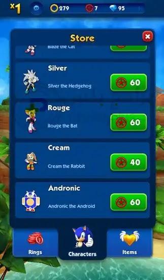 شخصيات لعبة sonic Dash