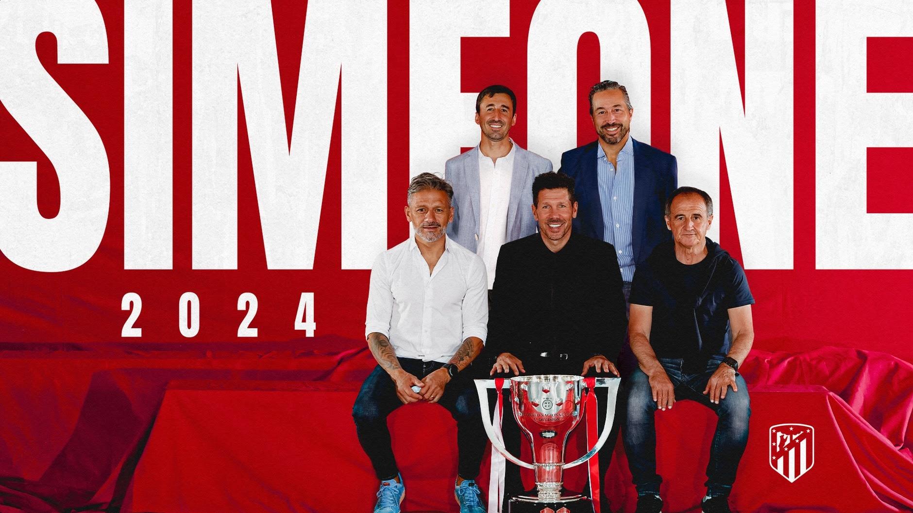 """El """"Cholo"""" Simeone extendió su vínculo con el Atlético Madrid hasta 2024"""