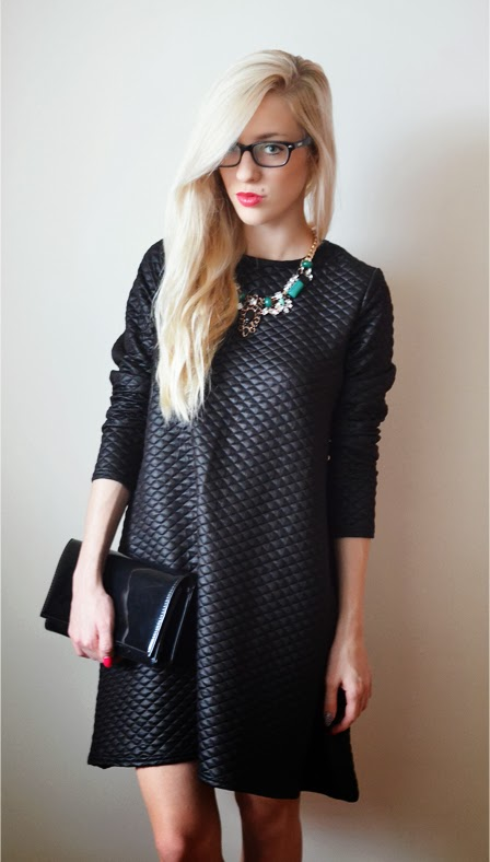CHRISTMAS EVE: BLACK QUILTED DRESS + GREEN RHINESTONE NECKLACE / NEW YEAR'S EVE INSPIRATIONS