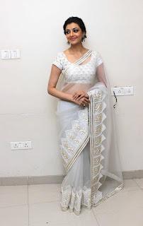 Kajal Agarwal in White Tisha saree