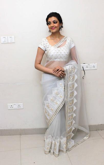 Kajal Agarwal New Pos in White Saree (1).jpg