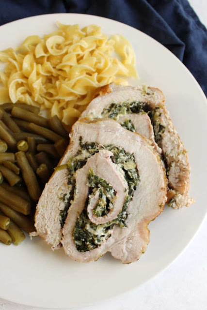 Parmesan Spinach Stuffed Pork Loin