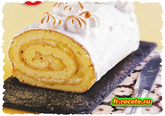 Gâteau roulé meringué à l'ananas